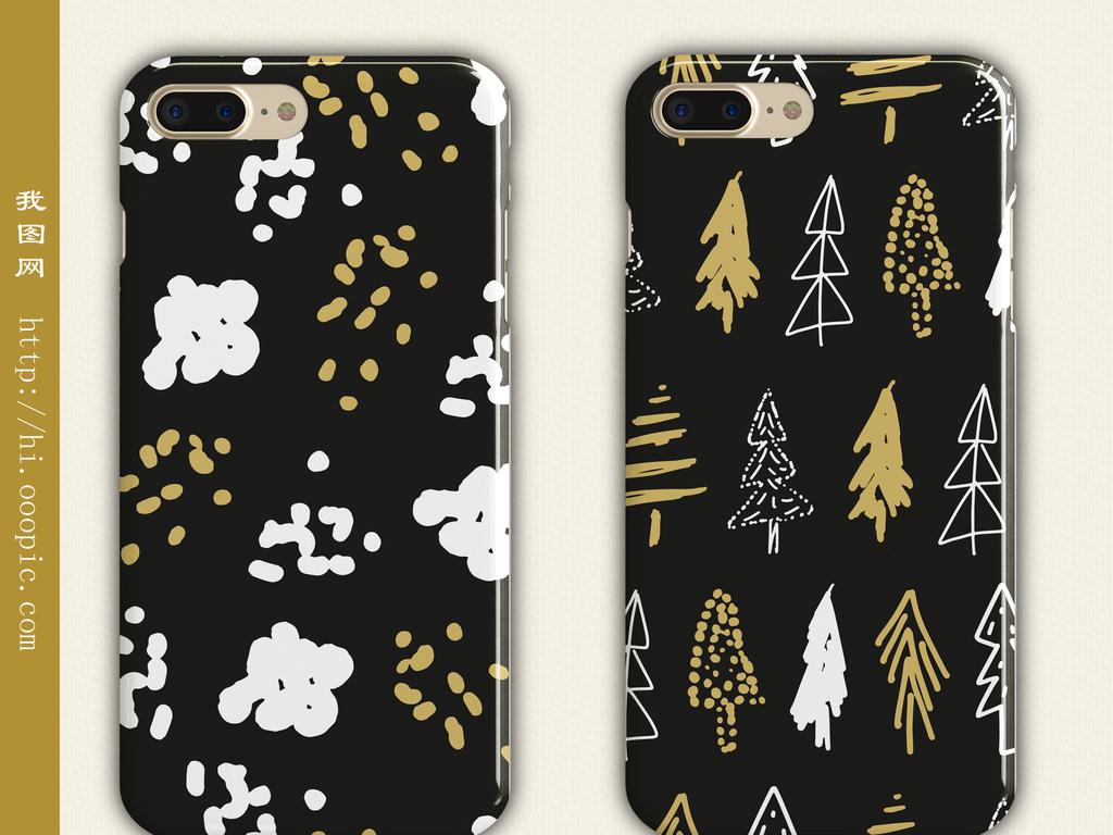 手机壳图案手绘小树