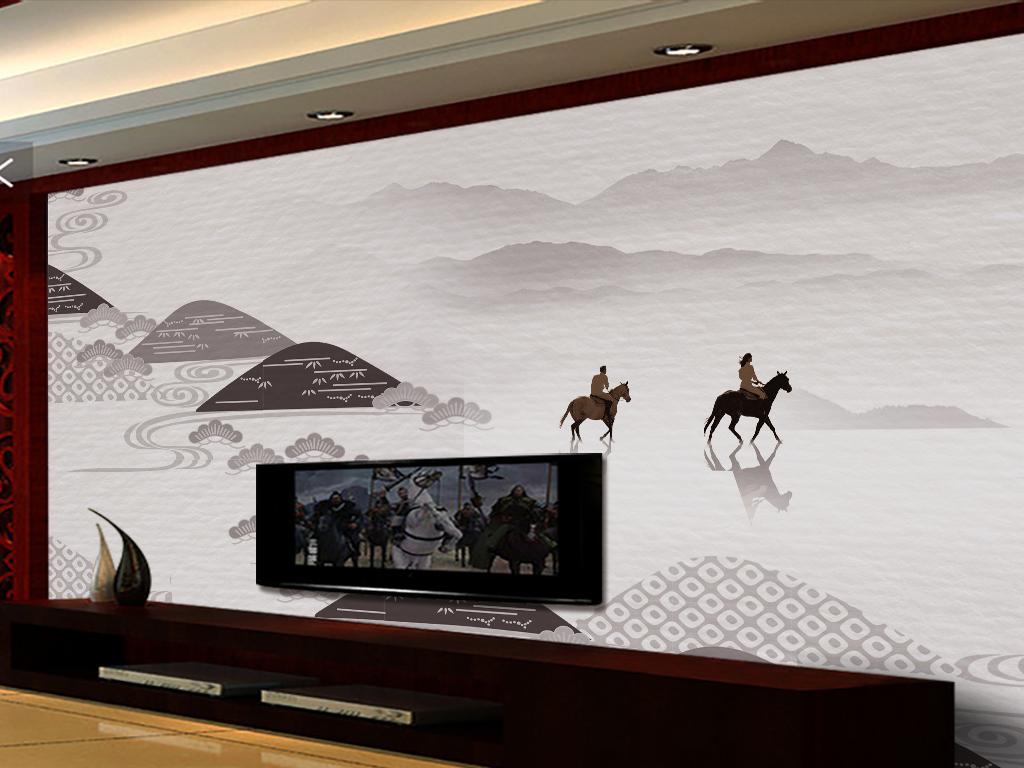 中国风抽象手绘简约山水中式背景墙
