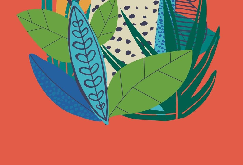 卡通动物图案设计树叶图片