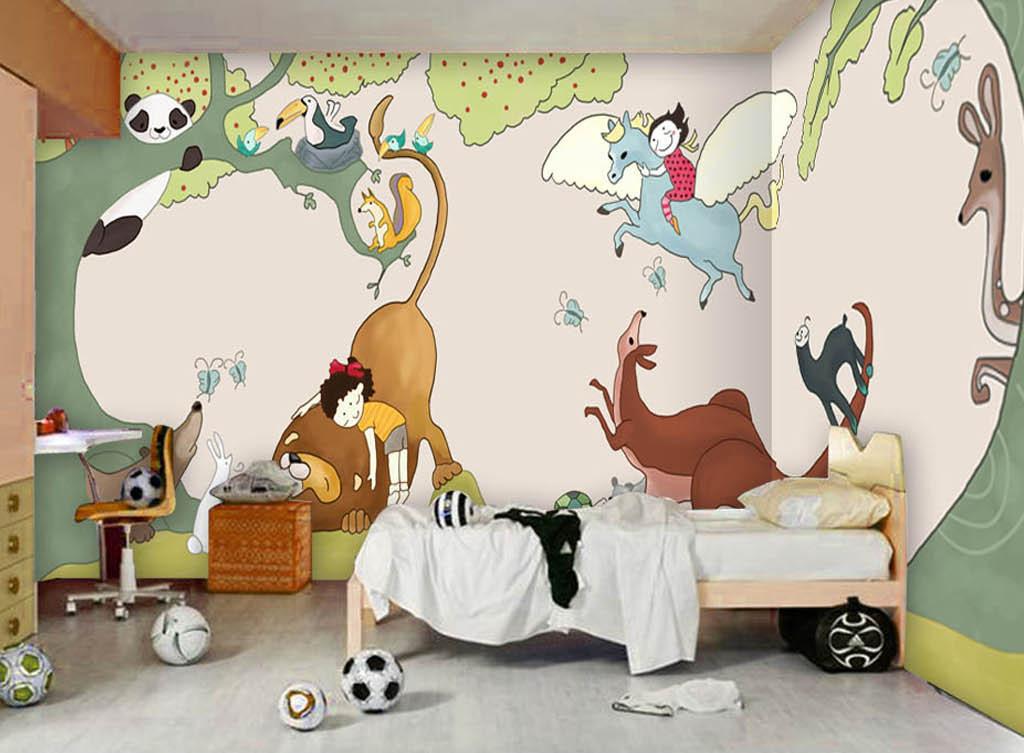 欧美手绘卡通动物园儿童房背景墙