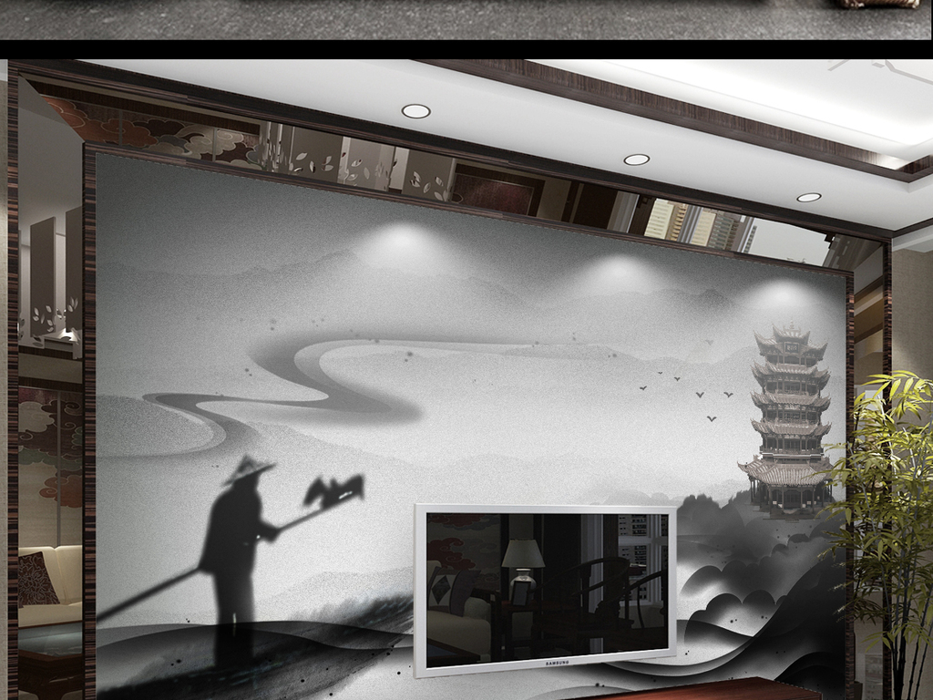 新中式禅境抽象水墨山水黄鹤楼背景墙装饰画