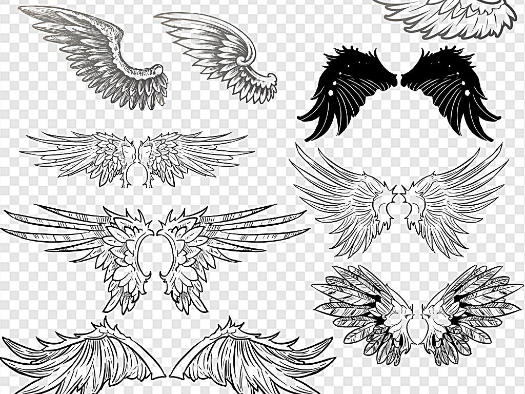 翅膀天使翅膀卡通翅膀火焰翅膀手绘翅膀素材
