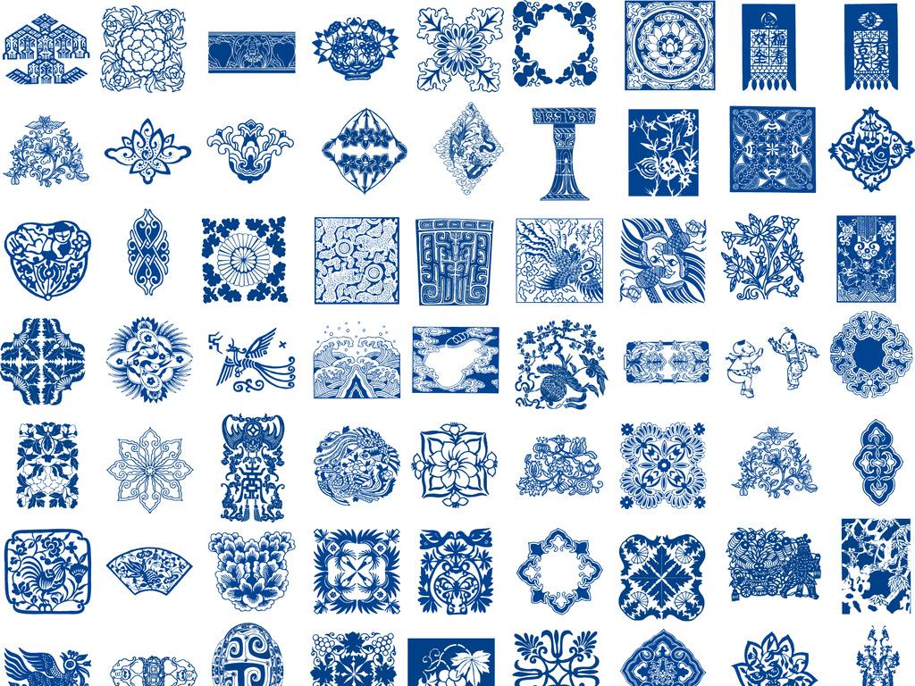 80款方形青花瓷花纹样