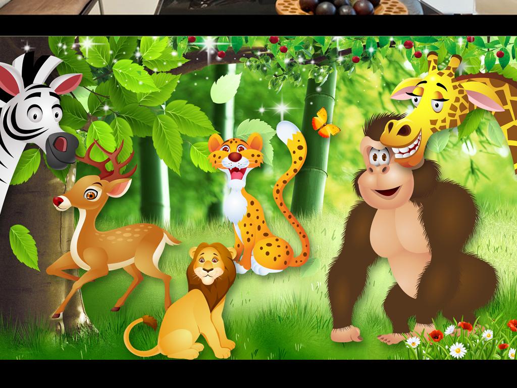 动物乐园唯美风景儿童房壁画