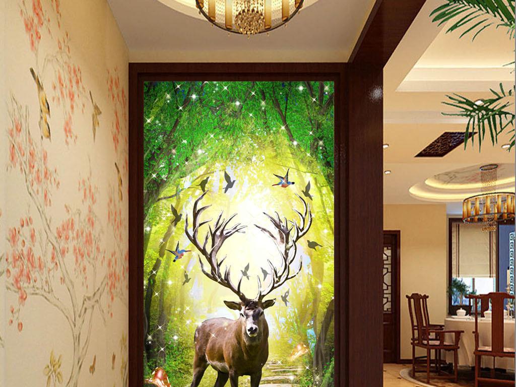 欧式手绘梦幻森林麋鹿背景装饰画