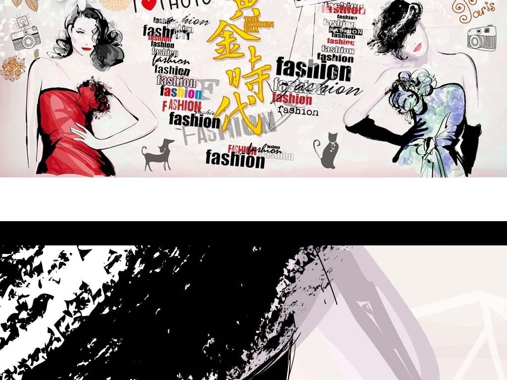 欧美砖墙手绘美女服装店背景墙