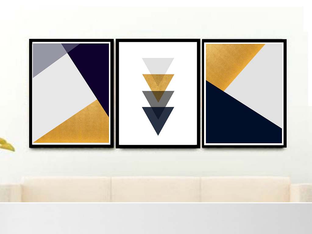 灰北欧简约几何图形抽象画