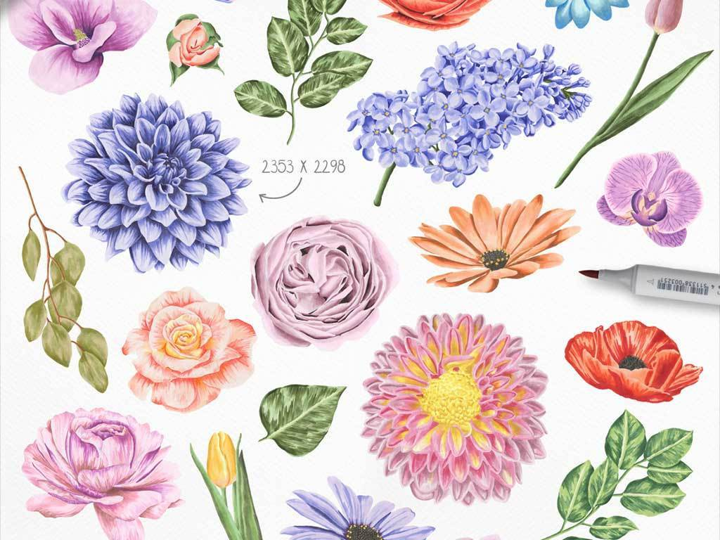 手绘水彩花朵png素材