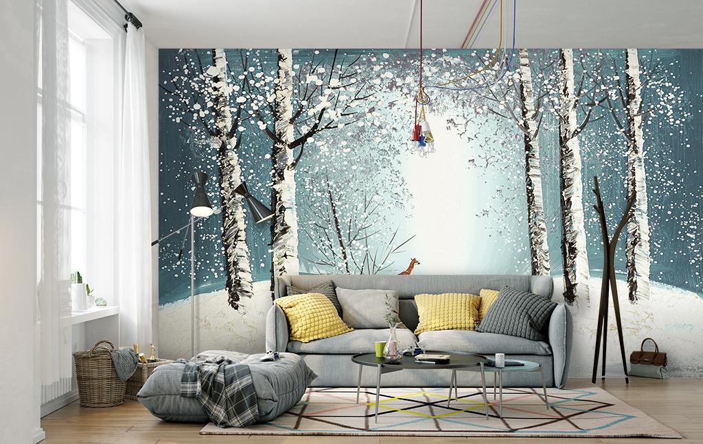 背景墙 电视背景墙 手绘电视背景墙 > 手绘森林麋鹿背景墙装饰画