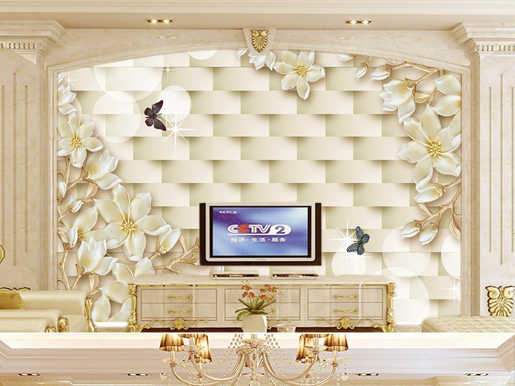 3d郁金香电视大厅背景墙