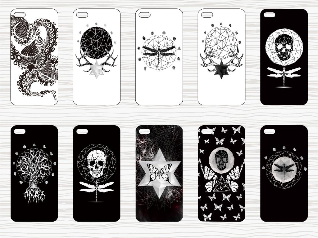 黑白炫酷手机壳花纹