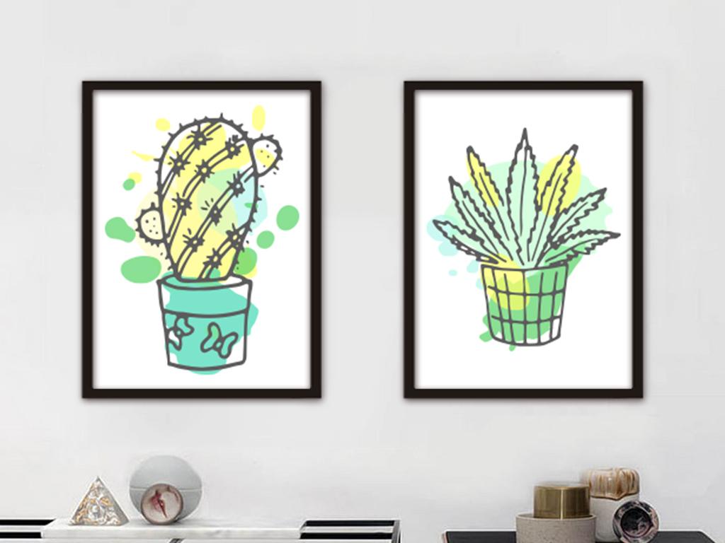 北欧简约手绘植物仙人掌装饰画