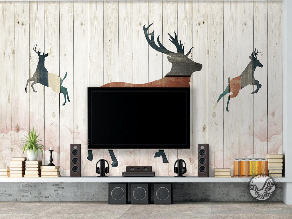 设计作品简介: 北欧简约复古木板麋鹿背景墙 位图, rgb格式高清大图