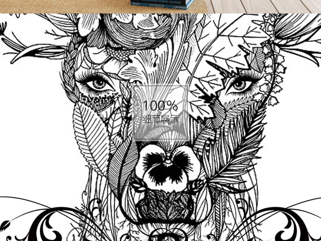北欧手绘动物麋鹿黑白无框装饰画