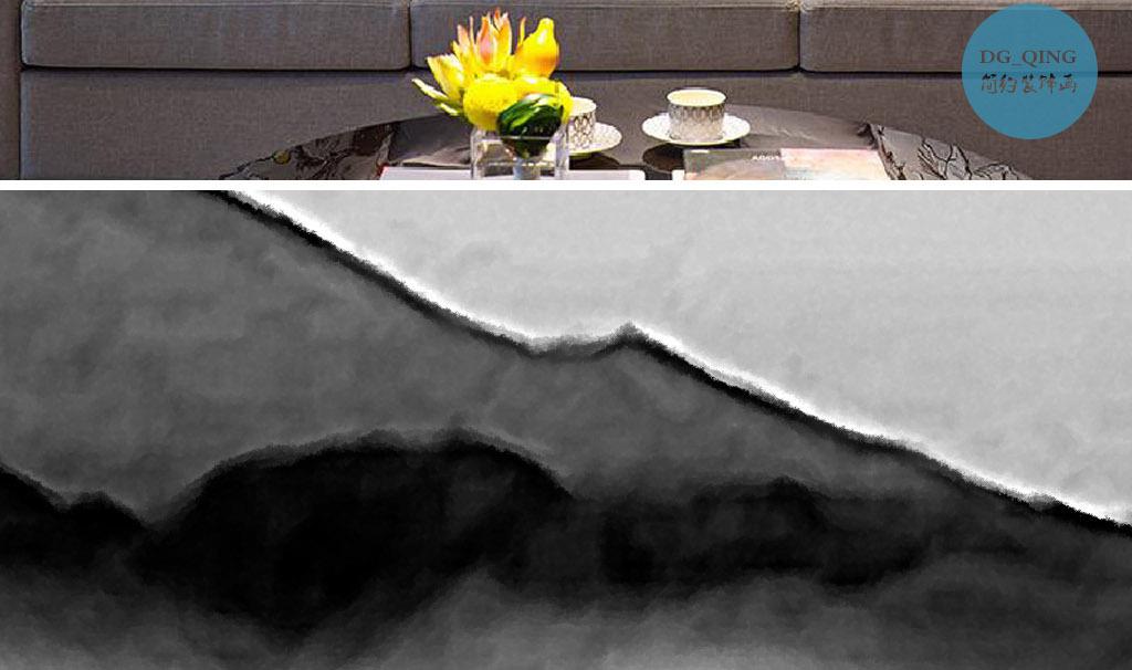 诗和远方手绘新中式山水现代时尚家居装饰画