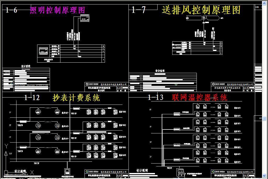 dwg)电力监测系统联网温控器系统抄表计费系统空调机组监控系统图热