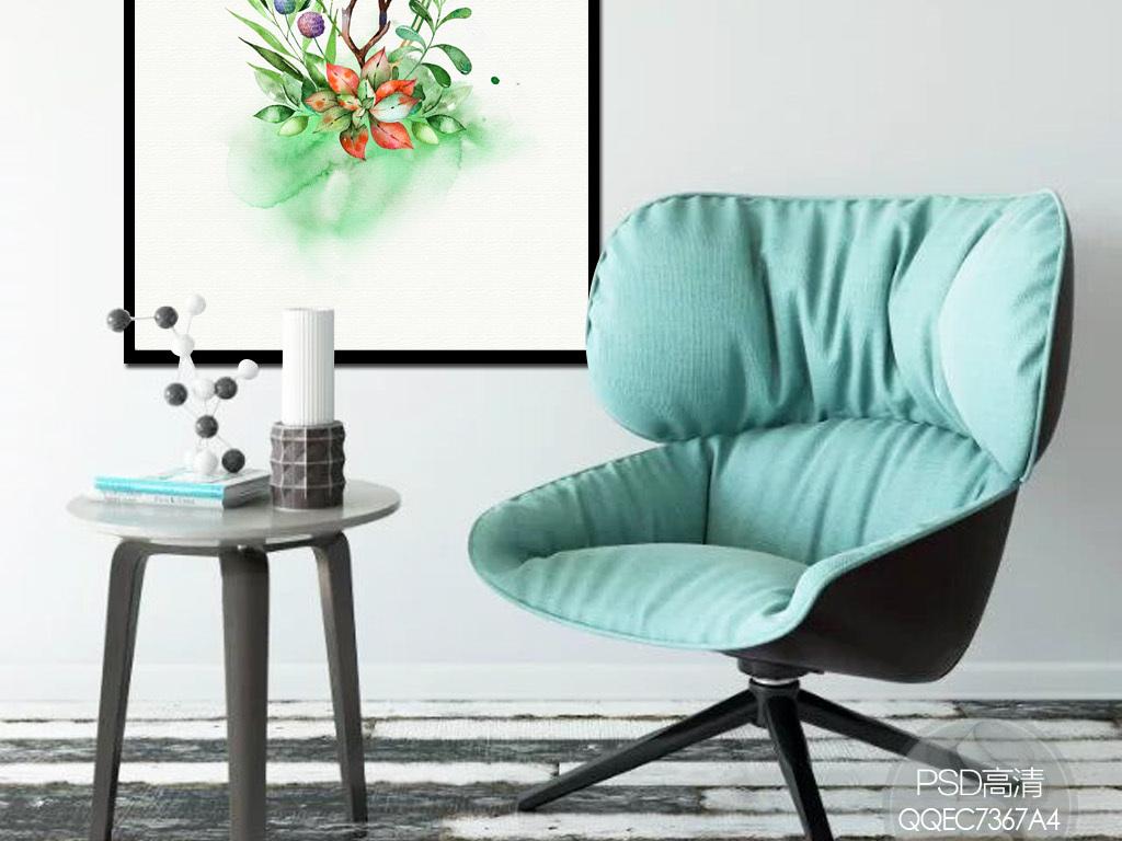 北欧小清新绿色手绘水彩花卉植物装饰画图片