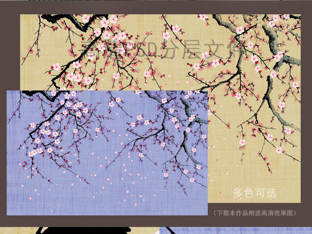 中式手绘桃花背景墙壁画壁纸十里桃林