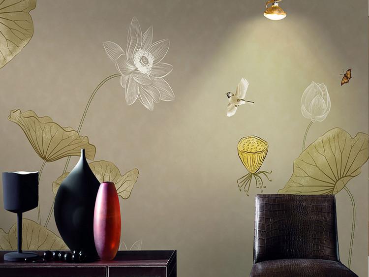 新中式中国风手绘工笔荷花莲花壁画软包