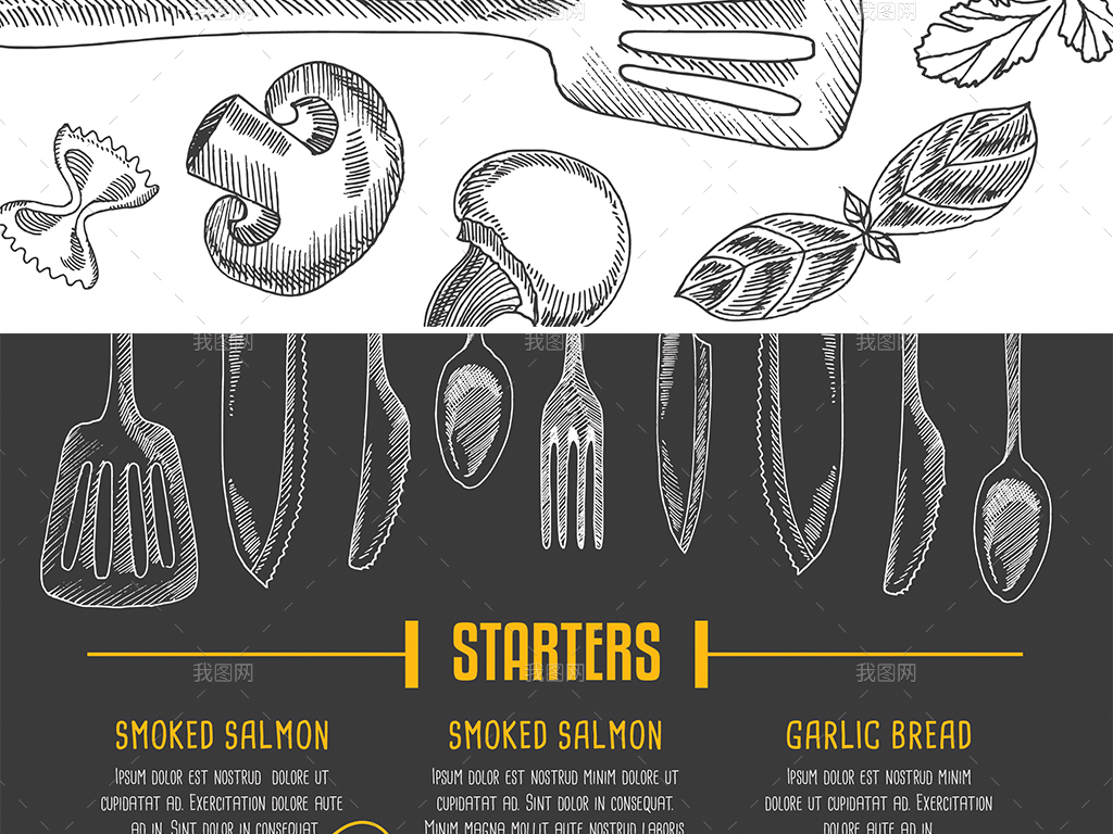 创意手绘西餐厅快餐店美食菜谱菜单矢量模板