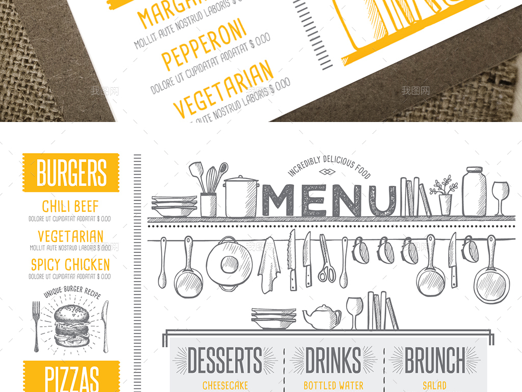 创意手绘快餐店套餐价目表促销菜单矢量模板