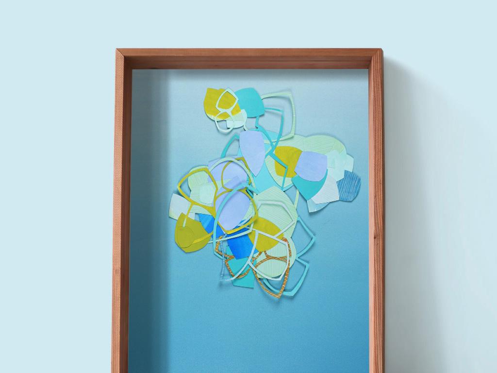 代简约创意绿色几何线条抽象装饰画