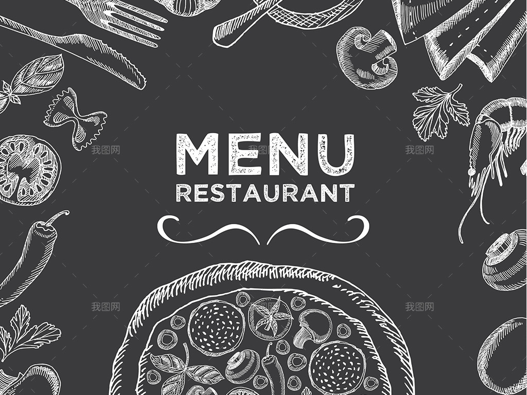 创意黑板粉笔手绘西餐厅披萨店菜单矢量模板