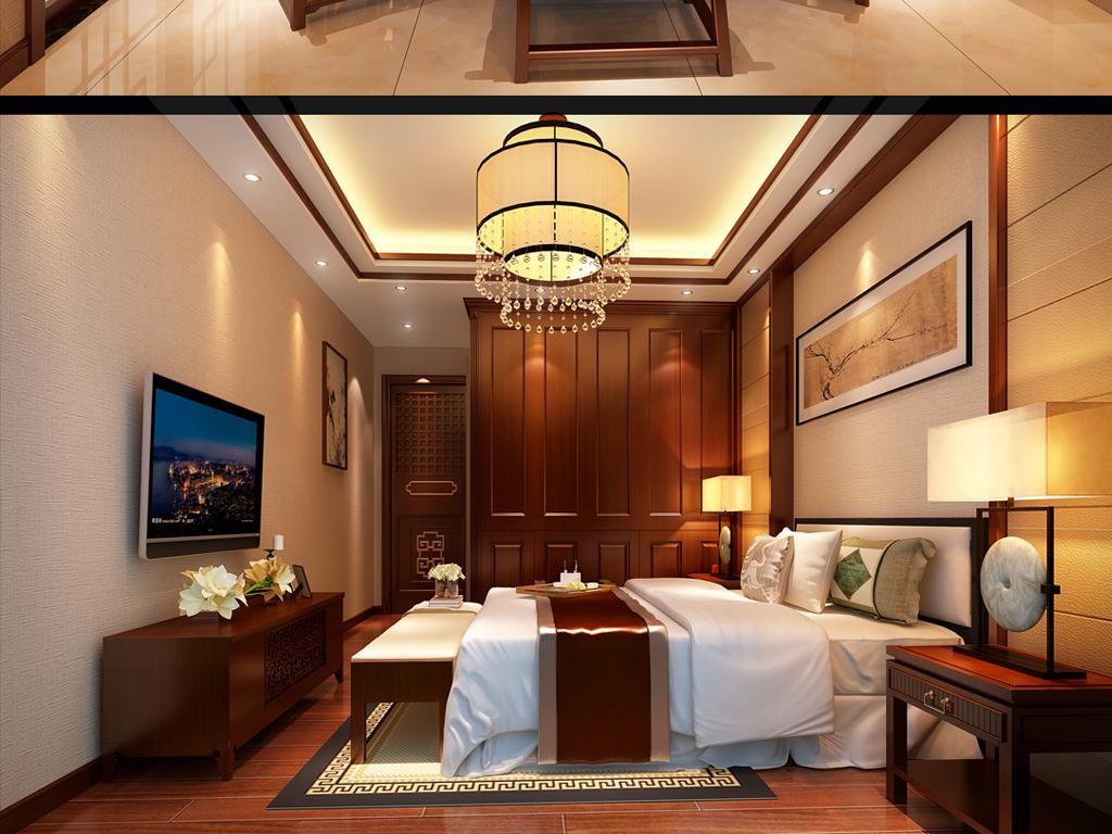 实木家具图背景墙设计地面拼花设计中式家具别墅中式别墅中式家装效果