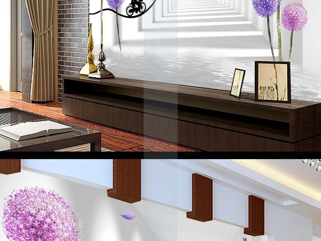 3d走廊空间蒲公英情侣自行车蝴蝶背景墙