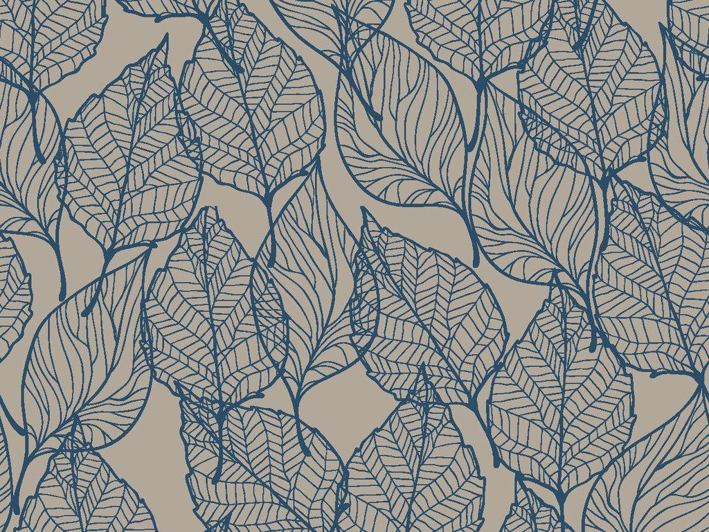 线描树叶墙纸图案印花循环矢量图图片
