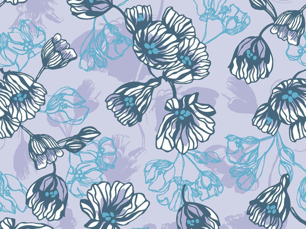 中国风禅意传统植物花卉壁纸印花矢量图