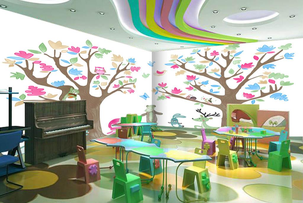 手绘大树动物园儿童房背景墙