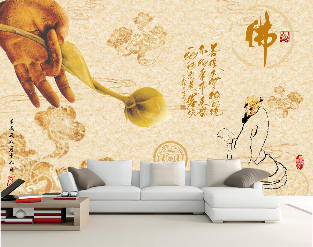 背景中式复古禅意禅宗禅意莲花荷花禅意佛手云水中式手绘墙中式手绘