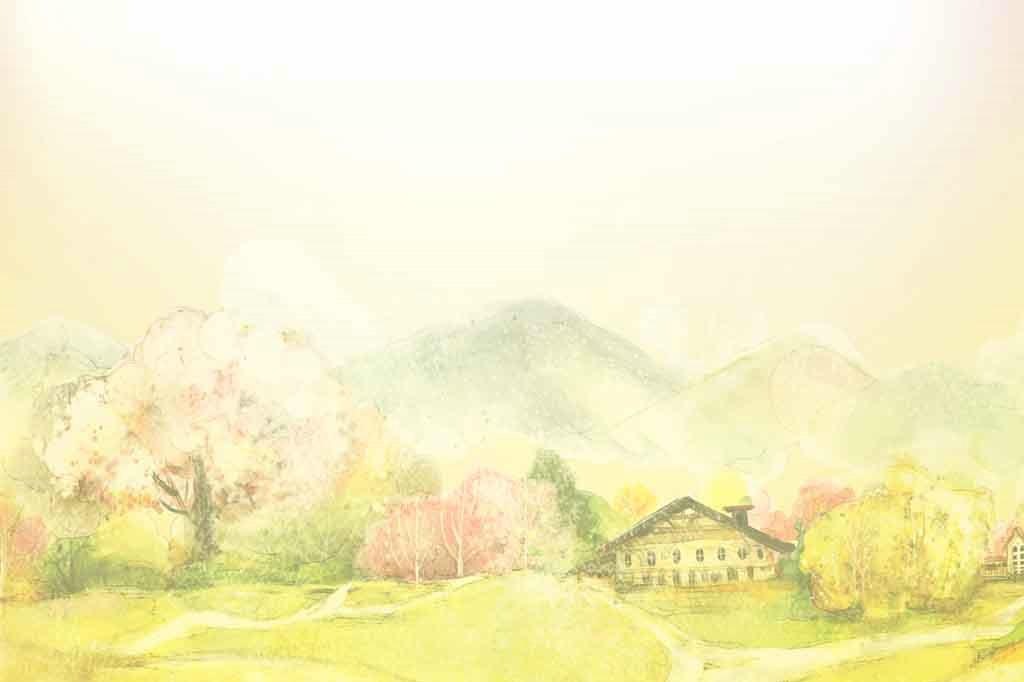 手绘渲染风景信纸图片