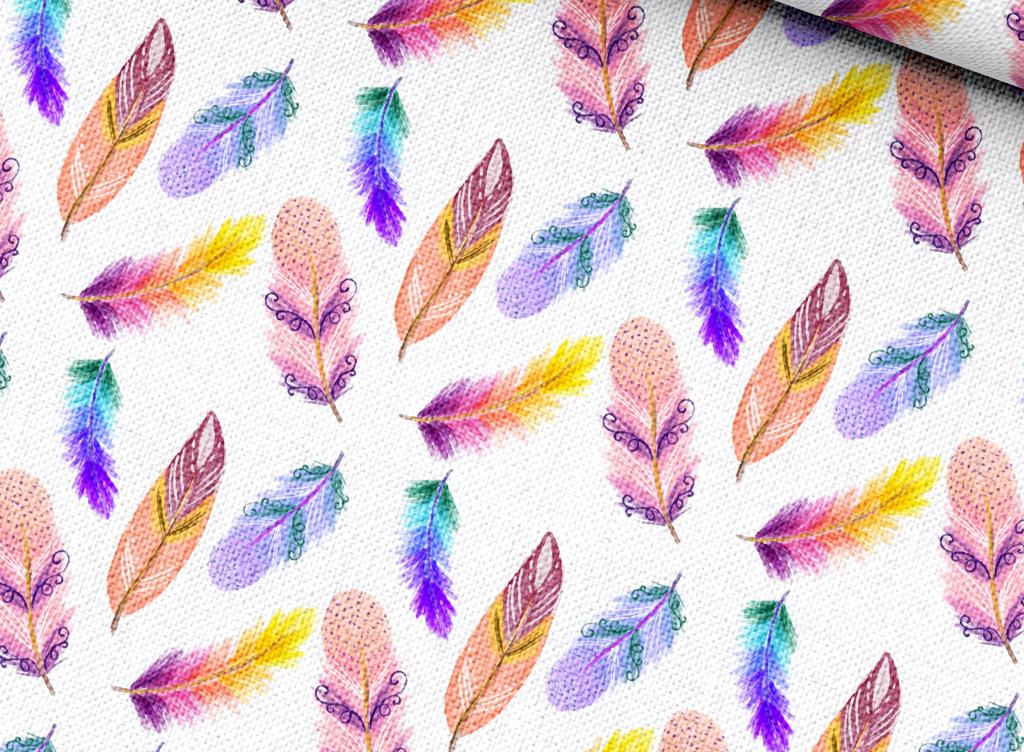 多彩水彩手绘羽毛床品四件套印花图案矢量