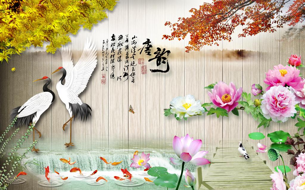 唐韵中式木板山水画背景墙壁画