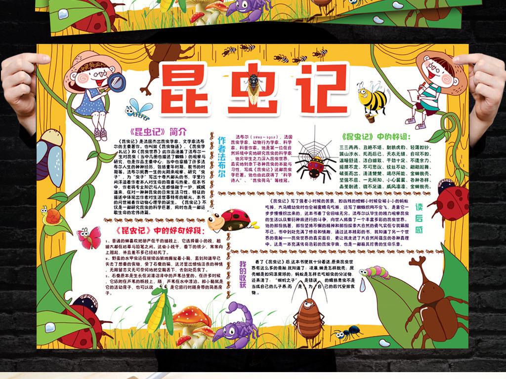 昆虫记小报读书阅读后感手抄电子小报设计