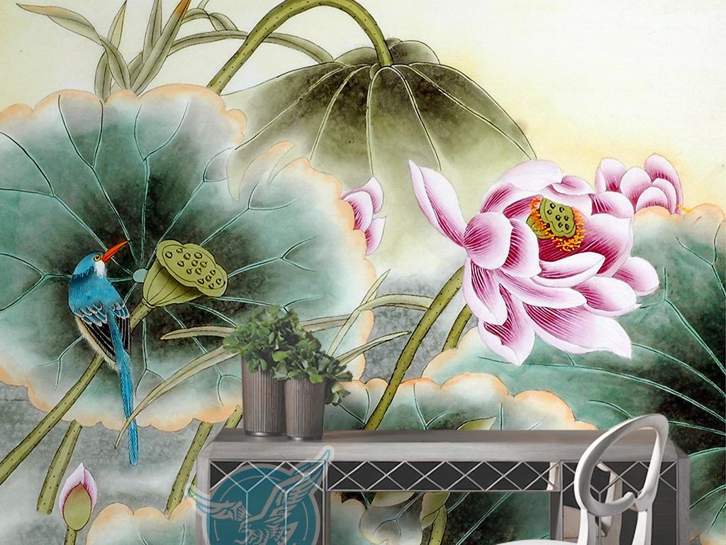 新中式工笔手绘荷花小鸟背景墙装饰画