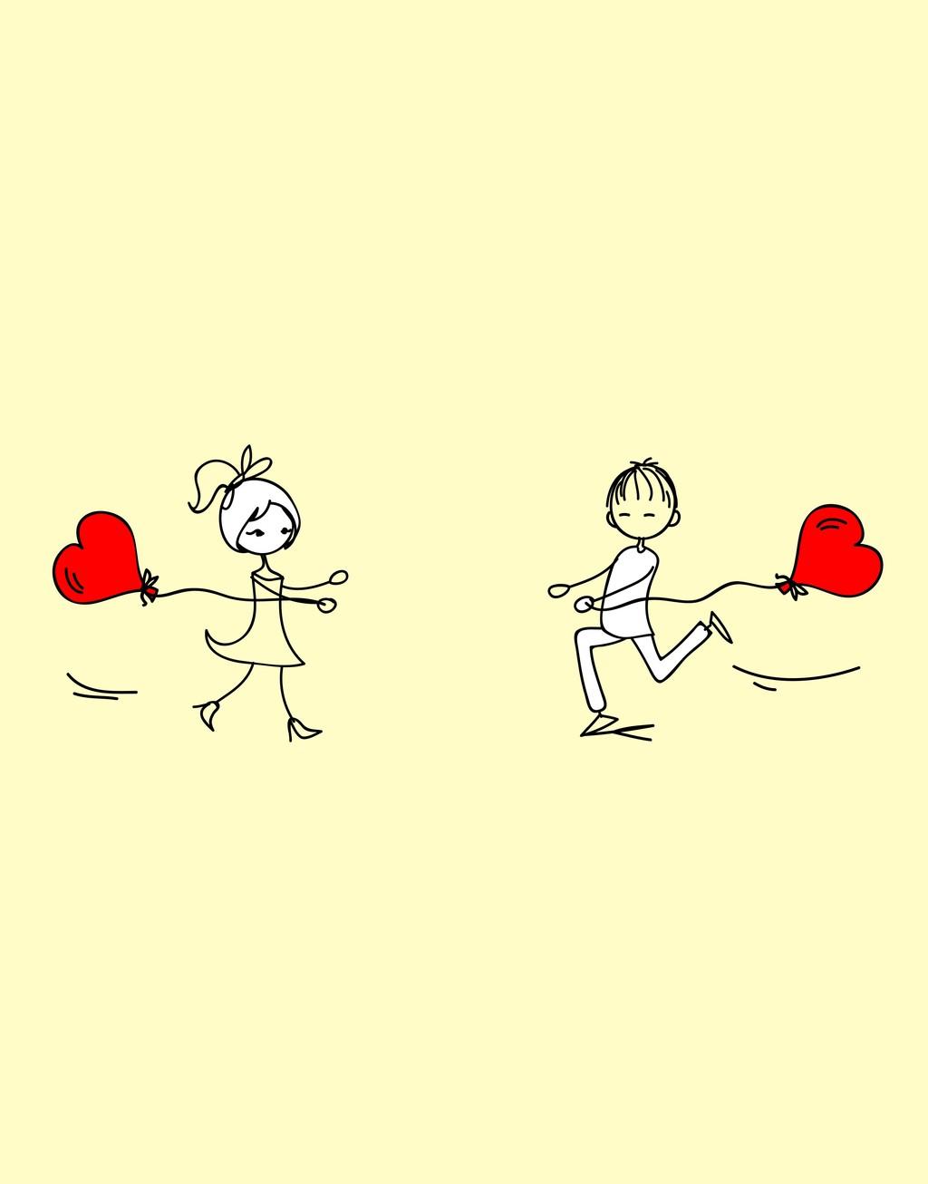 卡通动漫矢量人物情侣情人节素材心形图片