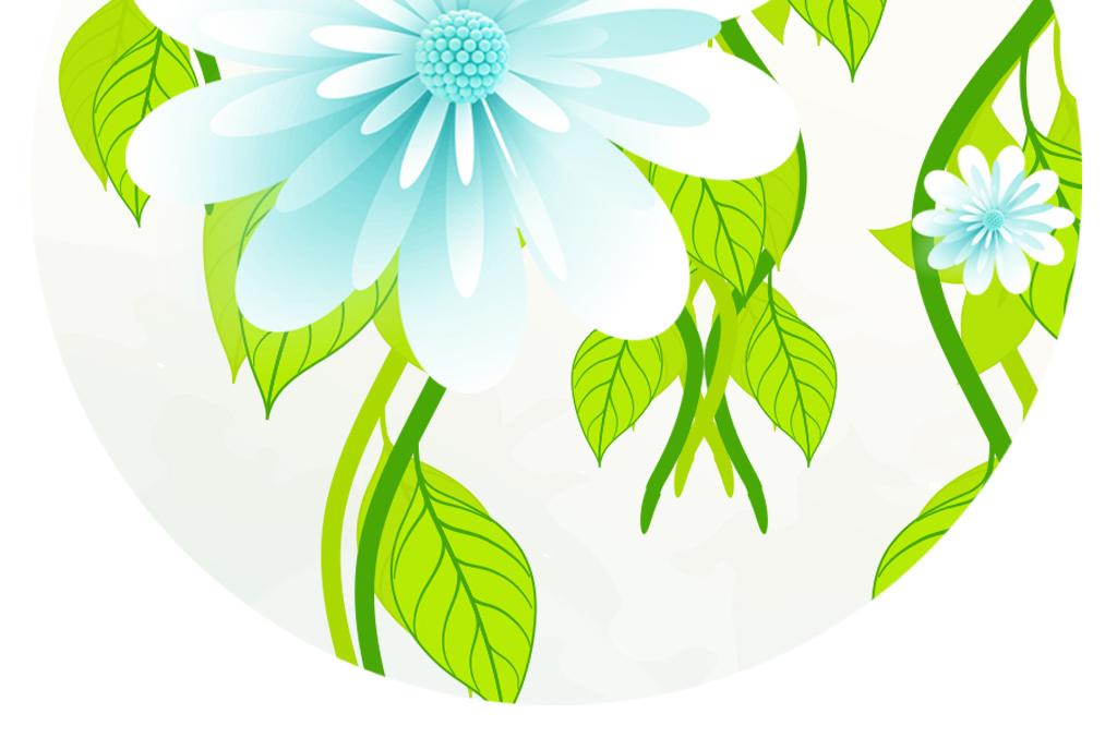 桌面壁纸绿叶手绘