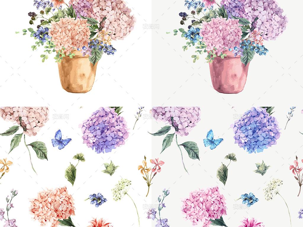 淡雅文艺手绘水彩花卉图案邀请卡片矢量背景
