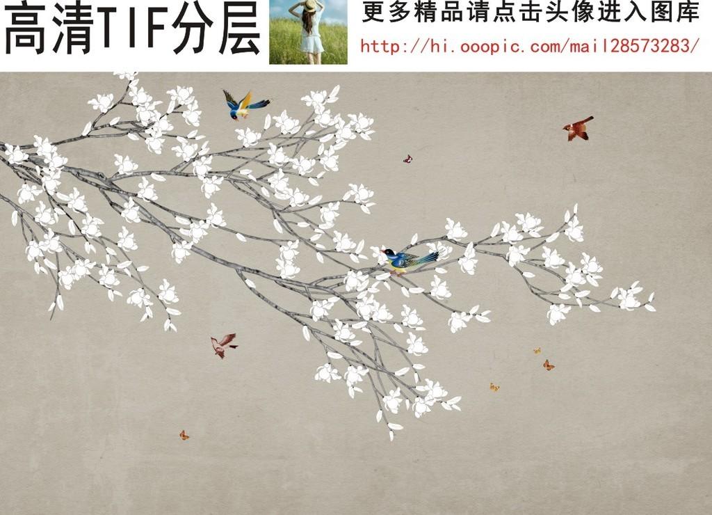 中式花鸟工笔手绘黑白玉兰花背景墙装饰画