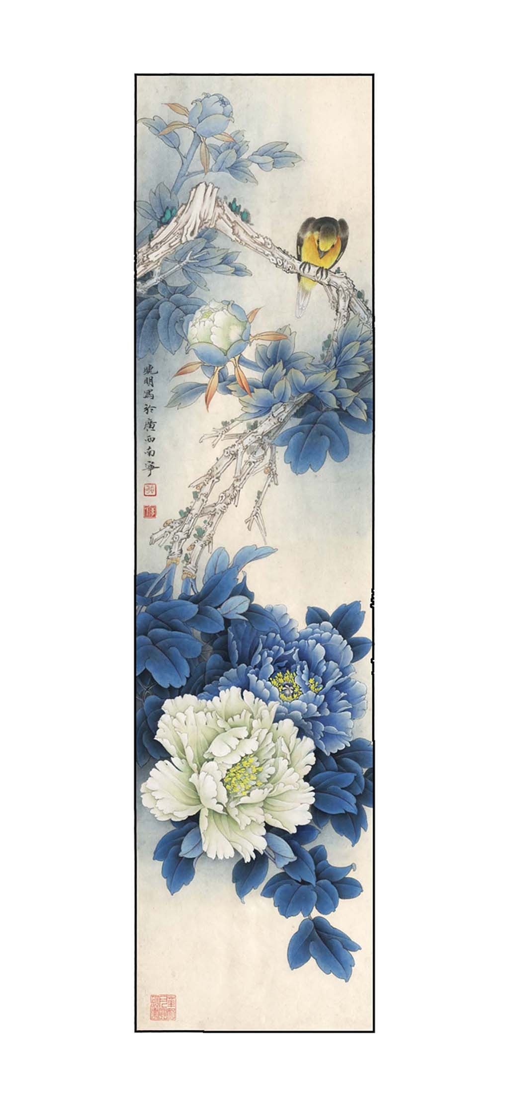 蓝色牡丹玄关画图片
