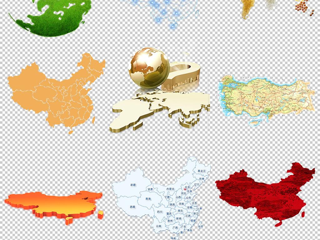 卡通手绘中国地图世界地图设计元素png