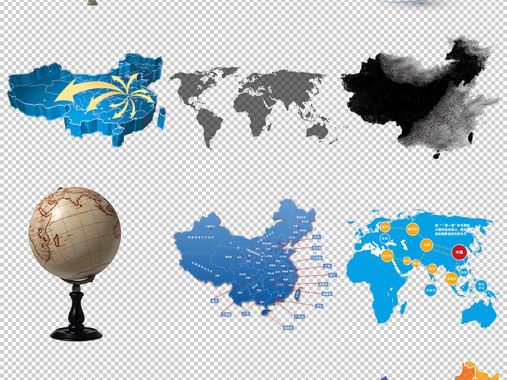 创意30款中国地图世界地图设计元素png