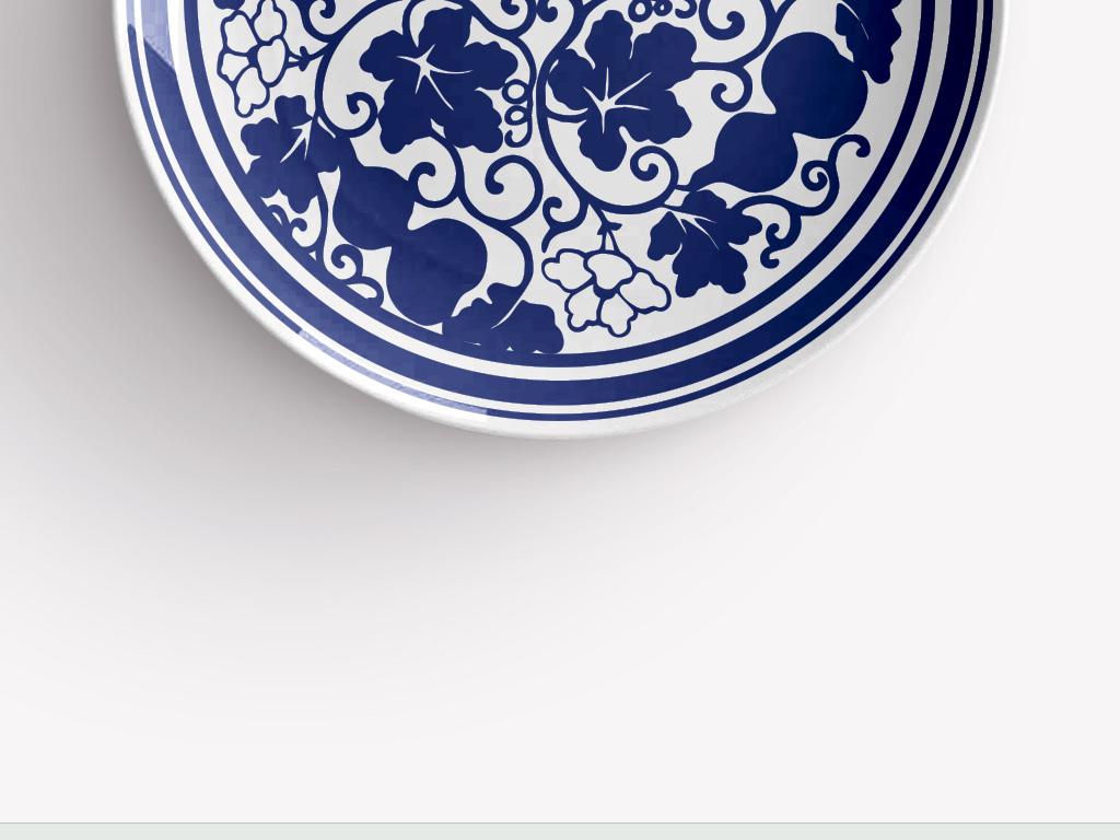 中国青花手绘葫芦瓷盘图案