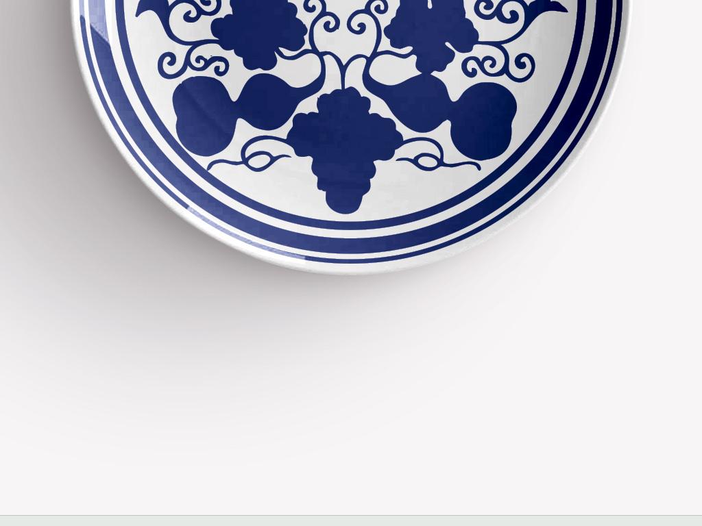 青花手绘葫芦瓷盘图案