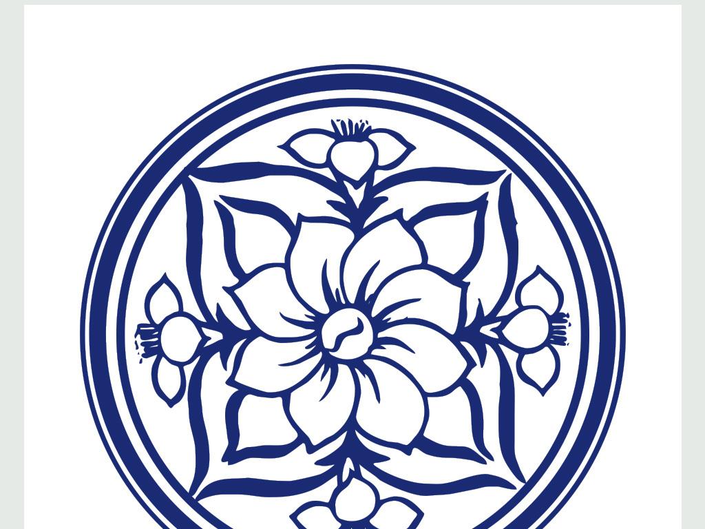 中国青花瓷手绘水仙花朵瓷盘图案图片下载ai素材-文化
