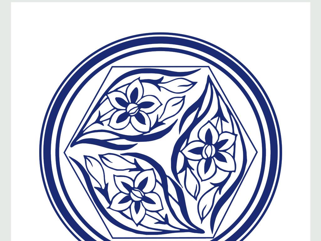 中国青花瓷手绘吉祥花朵瓷盘图案