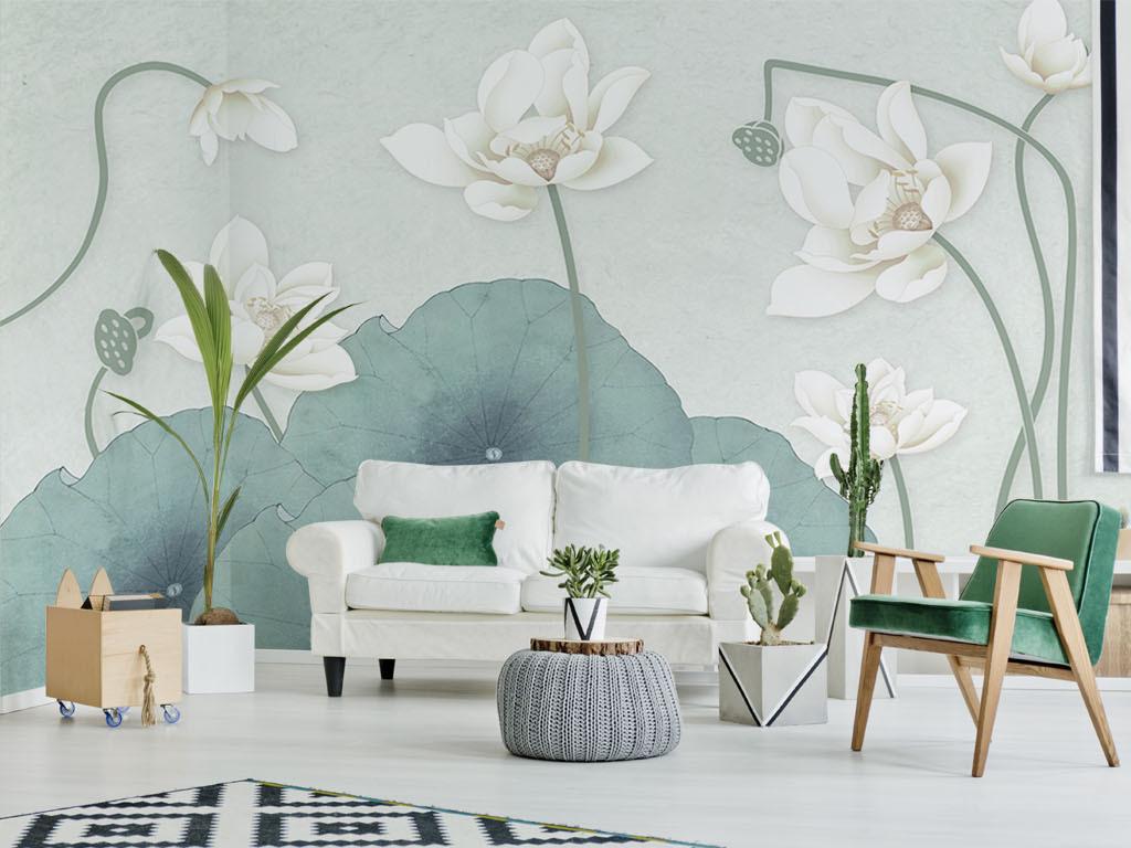 背景墙|装饰画 电视背景墙 手绘电视背景墙 > 清新淡雅绿荷白莲新中式